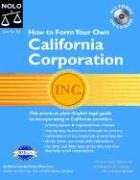 """How to Form Your Own California Corporation """"With CD"""" with CDROM als Taschenbuch"""