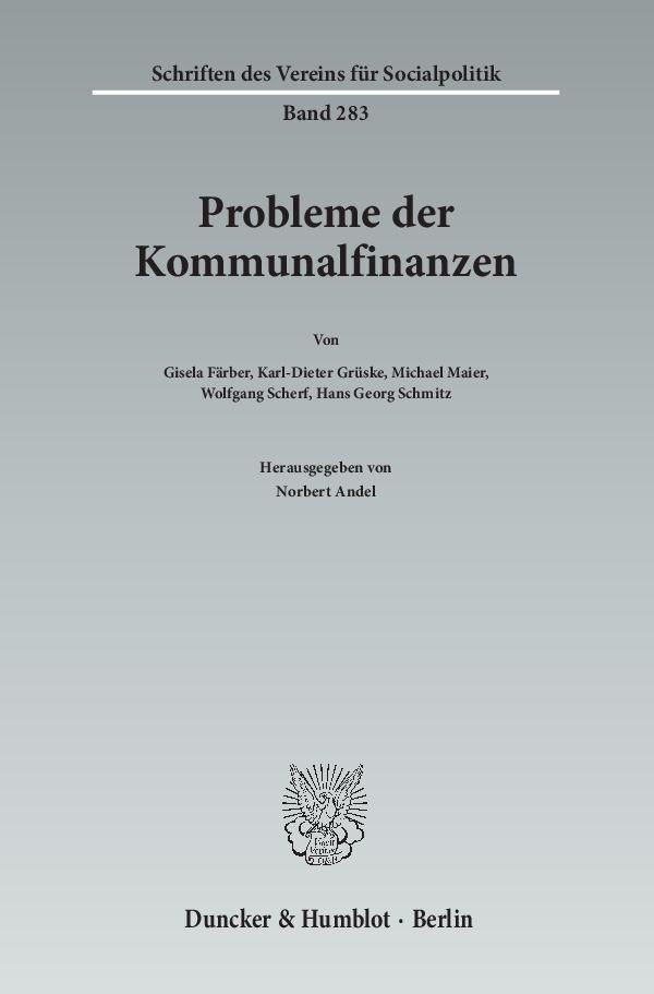 Probleme der Kommunalfinanzen als Buch (kartoniert)