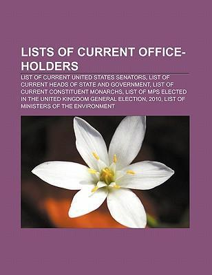 Lists of current office-holders als Taschenbuch
