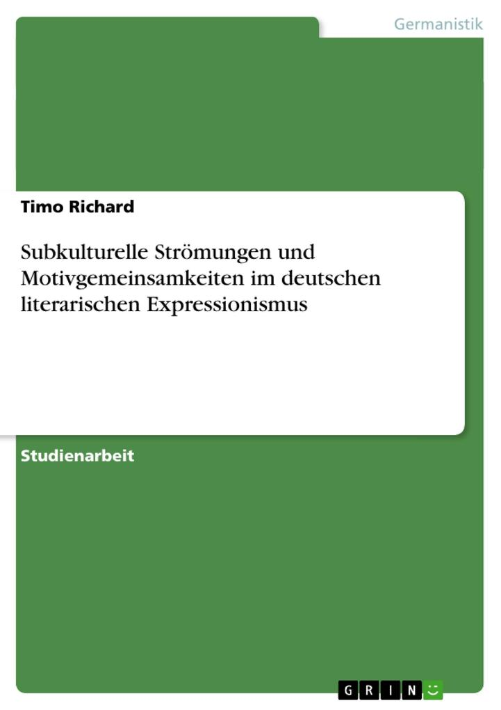 Subkulturelle Strömungen und Motivgemeinsamkeiten im deutschen literarischen Expressionismus als Buch (kartoniert)