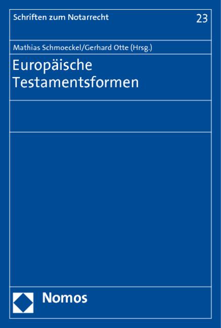 Europäische Testamentsformen als Buch (kartoniert)