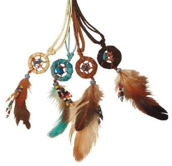 Halskette Traumfänger mit Perlen und variablem Baumwollband 3 cm als Sonstiger Artikel