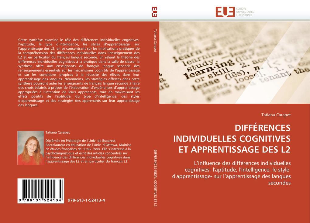 DIFFÉRENCES INDIVIDUELLES COGNITIVES ET APPRENTISSAGE DES L2 als Buch (gebunden)