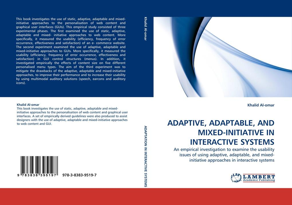 ADAPTIVE, ADAPTABLE, AND MIXED-INITIATIVE IN INTERACTIVE SYSTEMS als Buch (kartoniert)