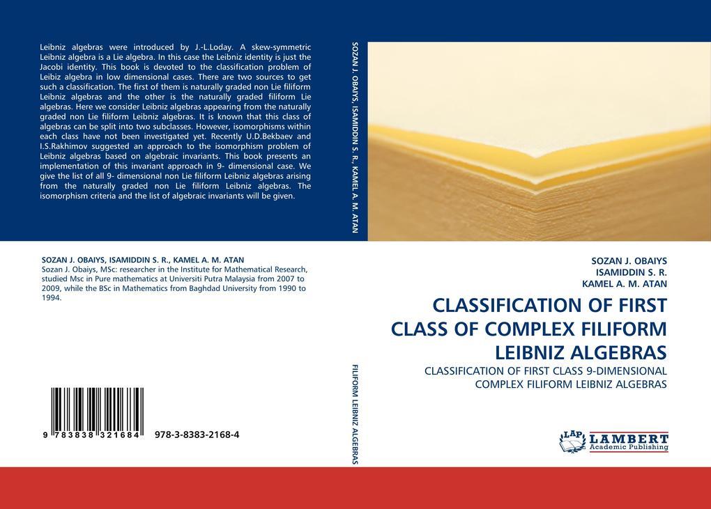 CLASSIFICATION OF FIRST CLASS OF COMPLEX FILIFORM LEIBNIZ ALGEBRAS als Buch (gebunden)