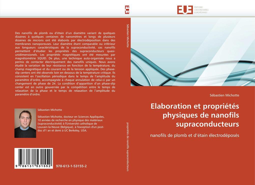 Elaboration Et Propriétés Physiques de Nanofils Supraconducteurs als Taschenbuch