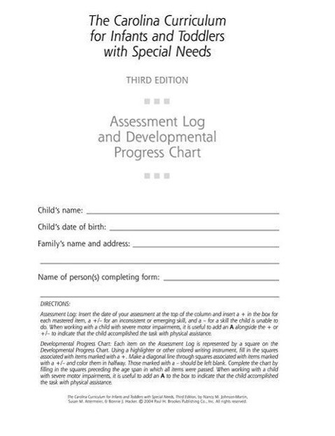 The Carolina Curriculum for Infants and Toddlers with Special Needs (Ccitsn) Assessment Log and Developmental Progress Chart als Taschenbuch