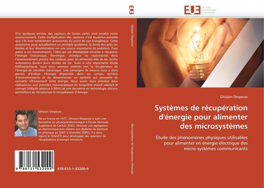 Systèmes de Récupération d''énergie Pour Alimenter Des Microsystèmes als Taschenbuch