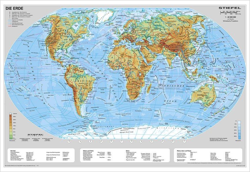 Die Erde, physisch 1 : 40 000 000. Wandkarte Kleinformat ohne Metallstäbe als Blätter und Karten