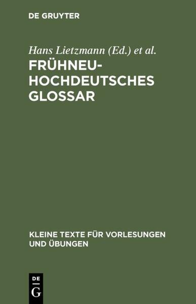 Frühneuhochdeutsches Glossar als Buch (gebunden)