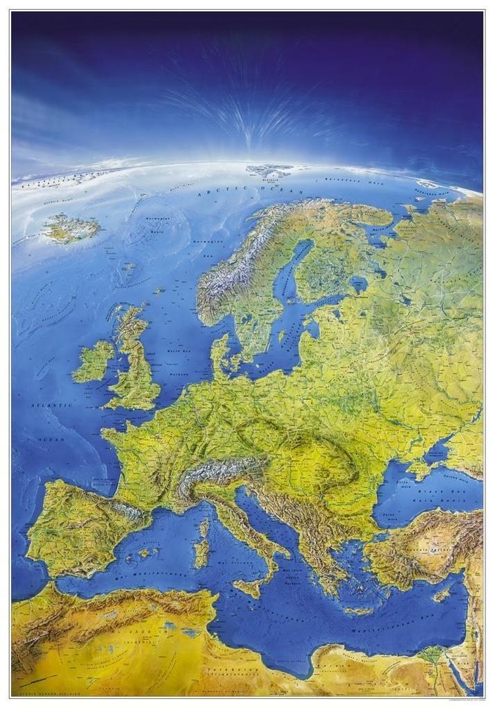 MARCO POLO Das Große Europa Panorama (Format 108 x 150 cm), plano in Hülse als Blätter und Karten