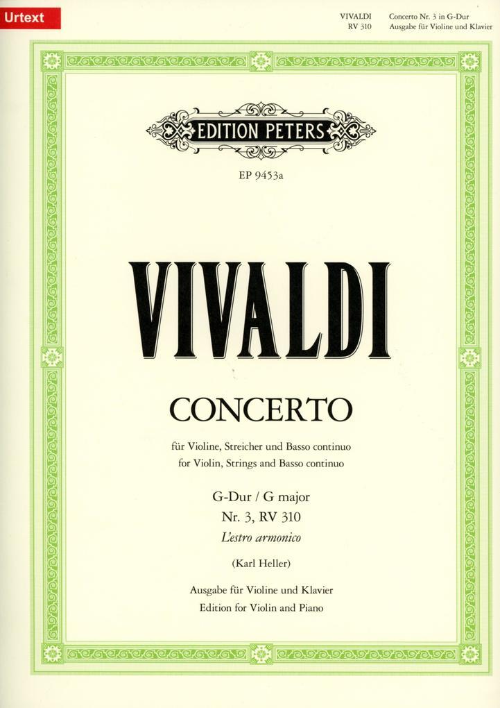 Konzert für Violine, Streicher und Basso continuo G-Dur op. 3 Nr. 3 RV 310 / PV 96 als Buch (geheftet)