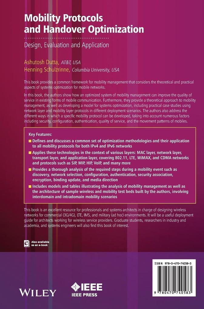 Mobility Protocols and Handover Optimization als Buch (gebunden)