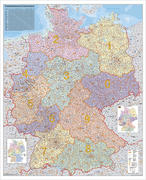 Deutschland Postleitzahlenkarte Kleinformat. Wandkarte ohne Metallstäbe