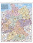 Postleitzahlen-Karte Deutschland 1 : 750 000. Wandkarte Grossformat mit Metallstäben