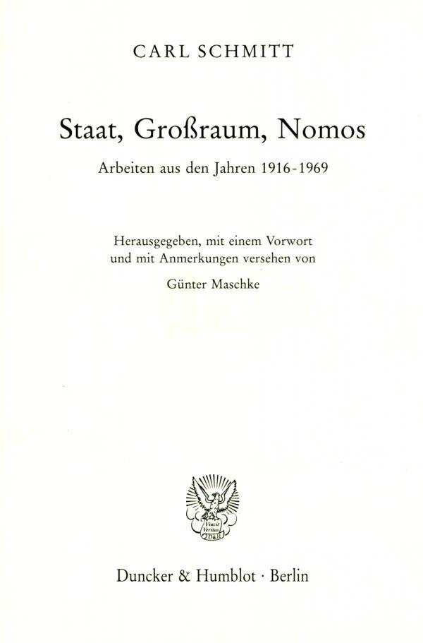 Staat, Großraum, Nomos als Buch (gebunden)