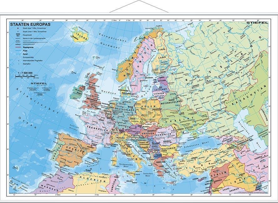 Staaten Europas, politisch 1 : 7 200 000. Wandkarte Kleinformat mit Metallstäben als Blätter und Karten