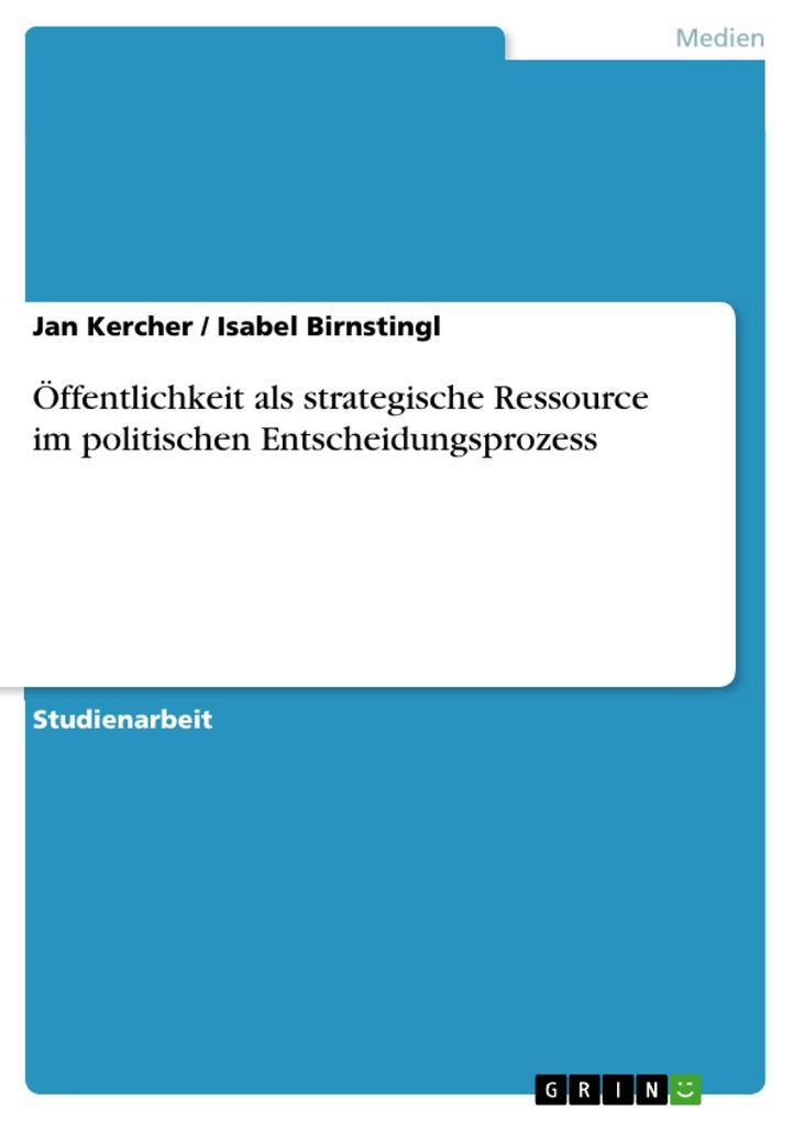 Öffentlichkeit als strategische Ressource im politischen Entscheidungsprozess als eBook epub