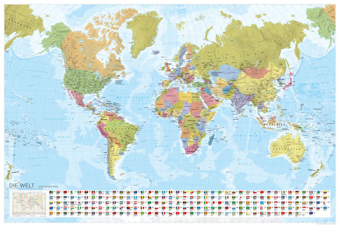 MARCO POLO Weltkarte - Staaten der Erde mit Flaggen 1:35 000 000, plano in Hülse als Buch