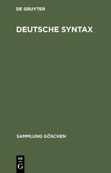 Deutsche Syntax als Taschenbuch