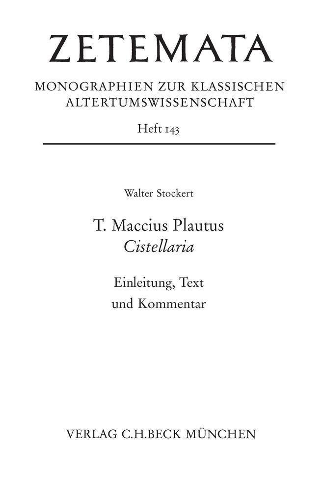T. Maccius Plautus. Cistellaria als eBook pdf