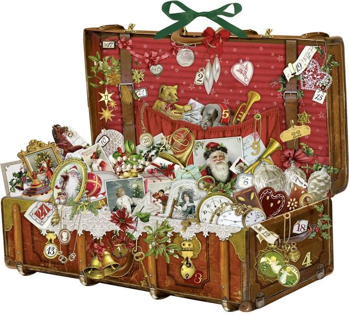 Nostalgischer Weihnachtskoffer-Adventskalender