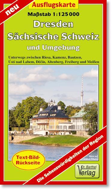 Ausflugskarte Dresden, Sächsische Schweiz und Umgebung 1 : 125 000 als Blätter und Karten