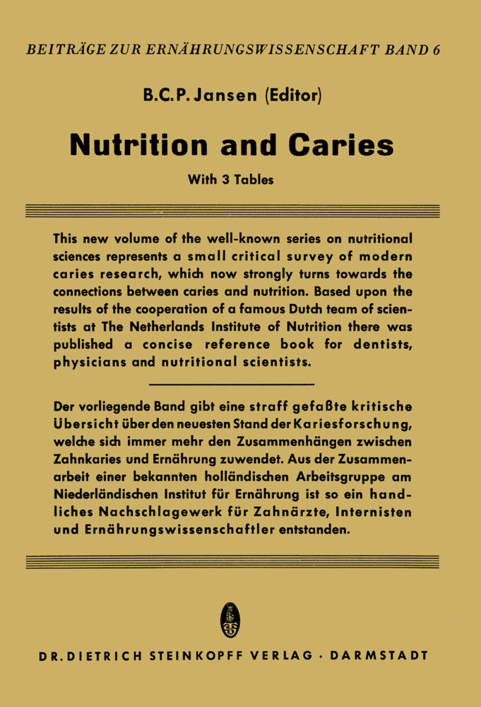 Nutrition and Caries als Buch (kartoniert)