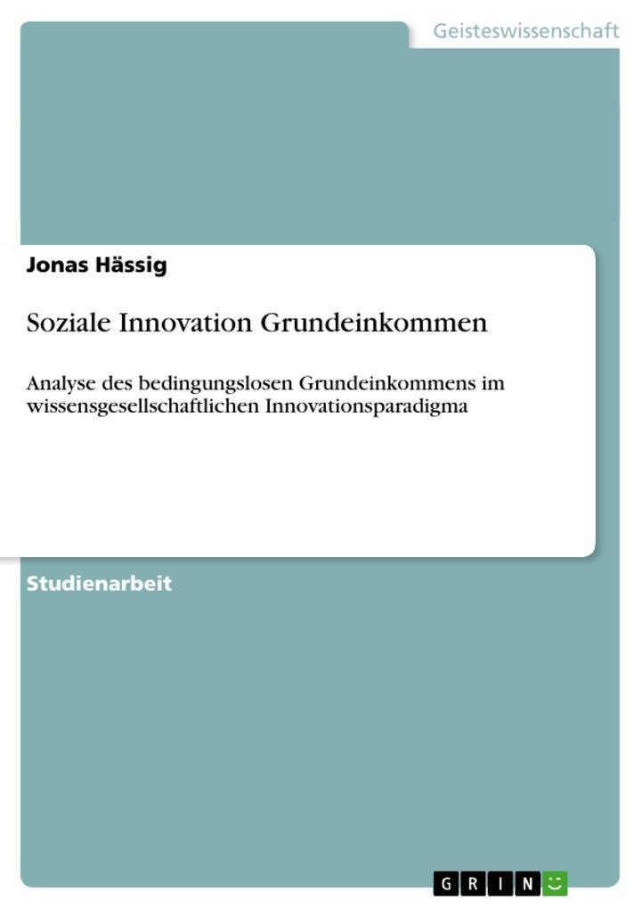 Soziale Innovation Grundeinkommen als Buch (geheftet)