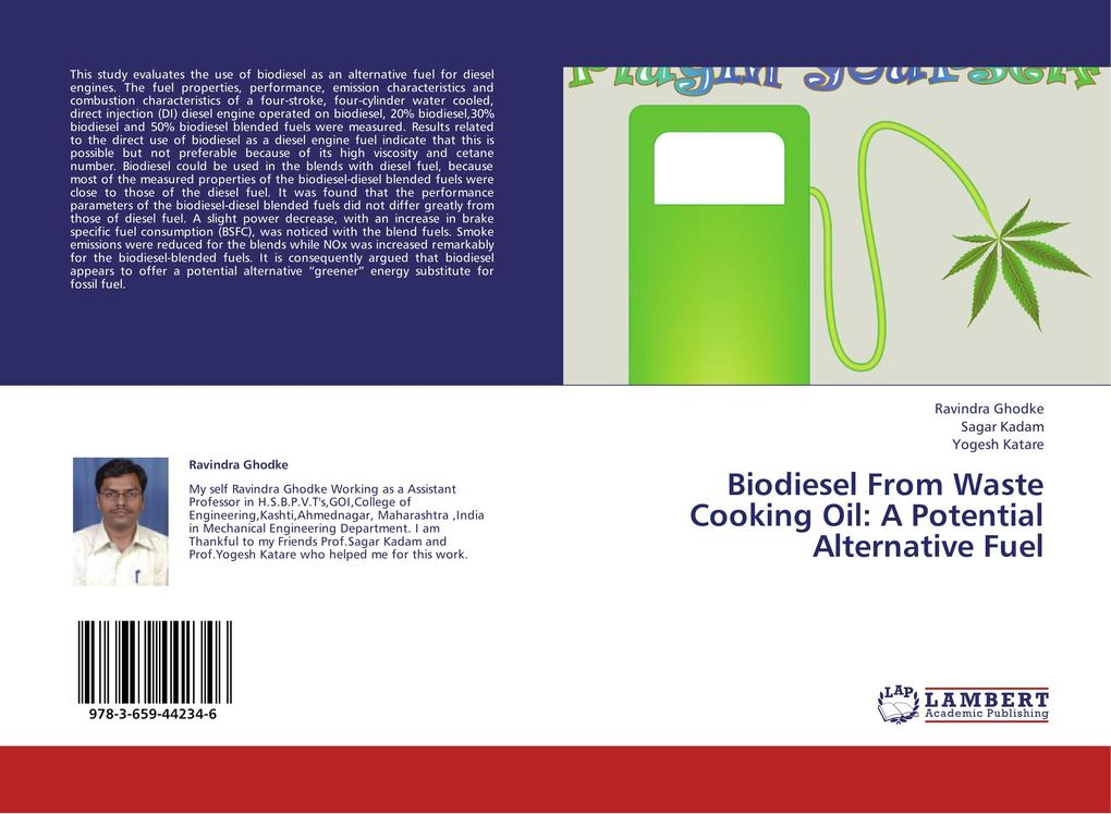 Biodiesel From Waste Cooking Oil: A Potential Alternative Fuel als Buch (kartoniert)