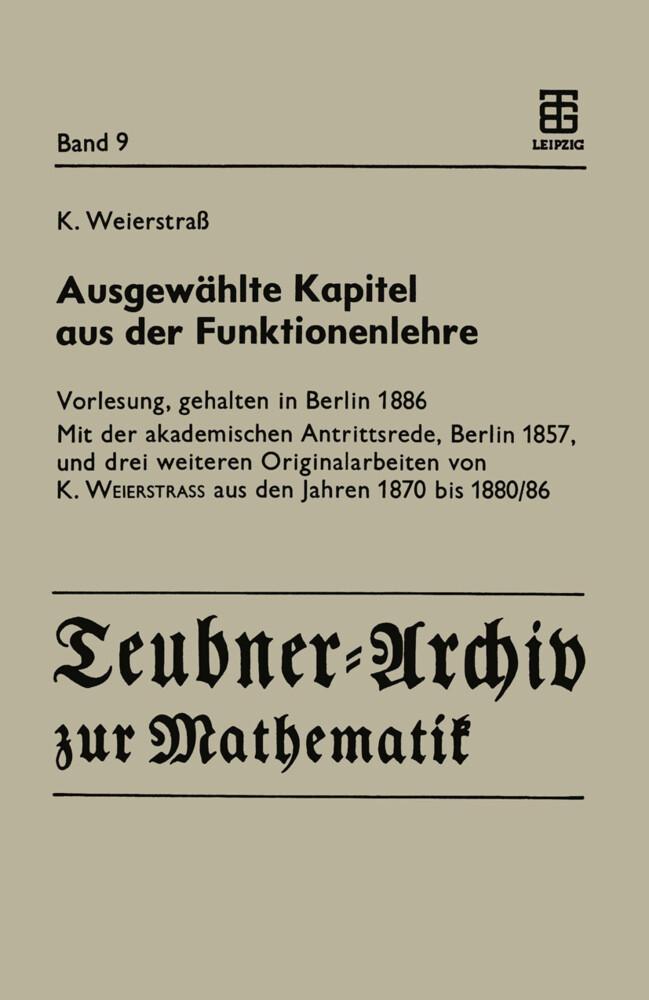 Ausgewählte Kapitel aus der Funktionenlehre als Buch (kartoniert)