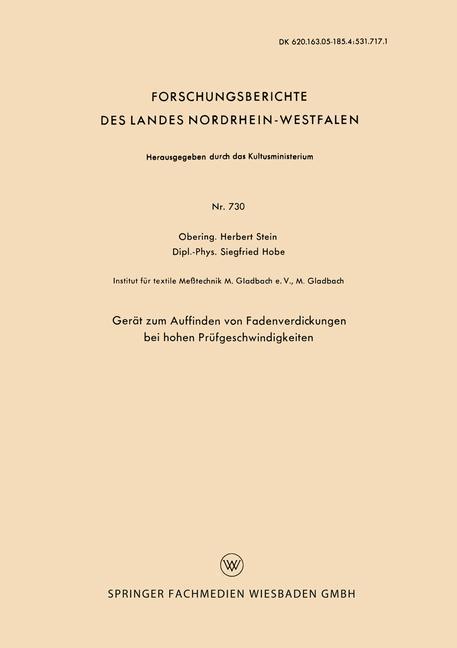 Gerät zum Auffinden von Fadenverdickungen bei hohen Prüfgeschwindigkeiten als Buch (kartoniert)