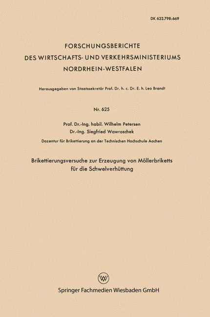 Brikettierungsversuche zur Erzeugung von Möllerbriketts für die Schwelverhüttung als Buch (kartoniert)