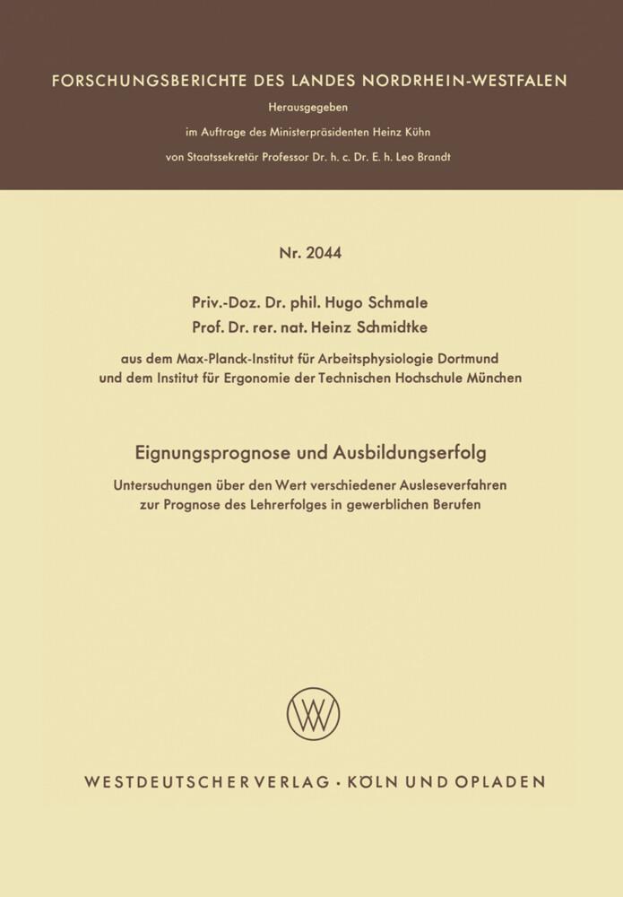Eignungsprognose und Ausbildungserfolg als Buch (kartoniert)