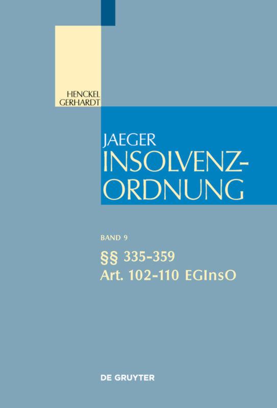 §§ 335-359; Art. 102-110 EGInsO als Buch (gebunden)