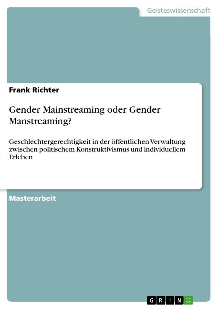 Gender Mainstreaming oder Gender Manstreaming? als eBook pdf
