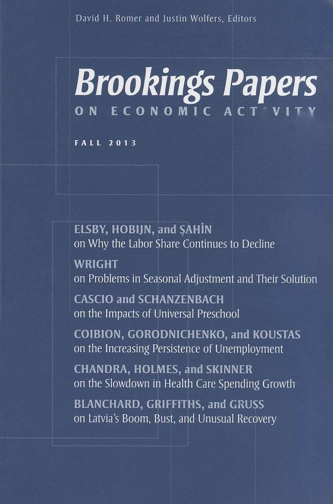 Brookings Papers on Economic Activity: Fall 2013 als Taschenbuch