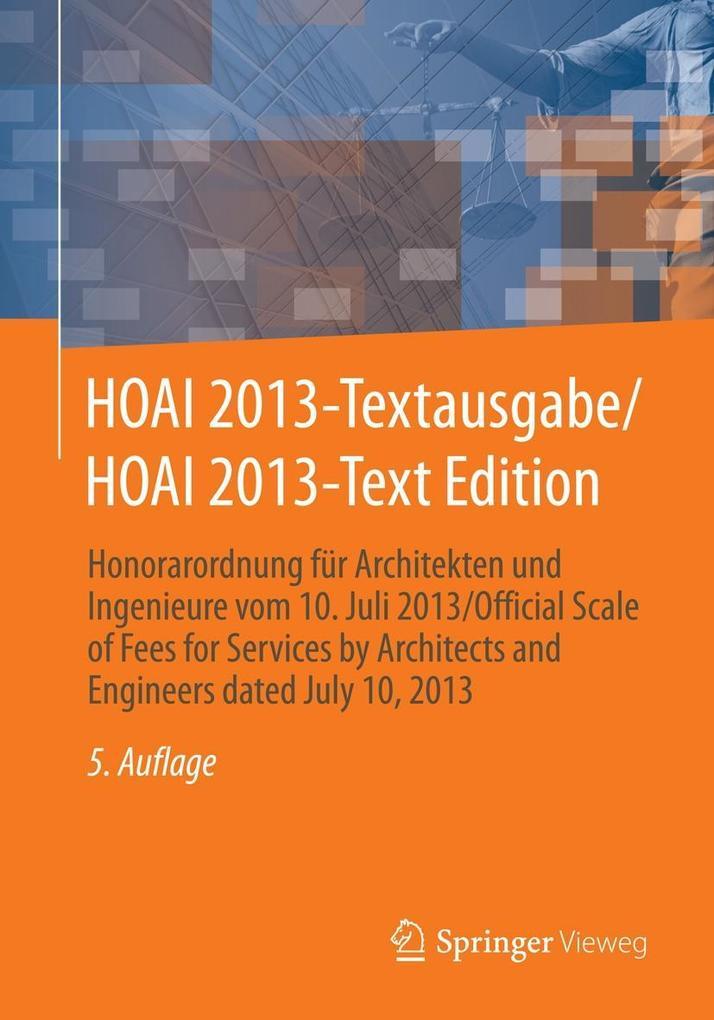 HOAI 2013-Textausgabe/HOAI 2013-Text Edition als eBook pdf