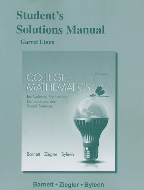 Student's Solutions Manual for College Mathematics for Business, Economics, Life Sciences and Social Sciences als Taschenbuch