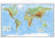 Weltkarte physisch - Wandkarte mit Metallbeleistung laminiert