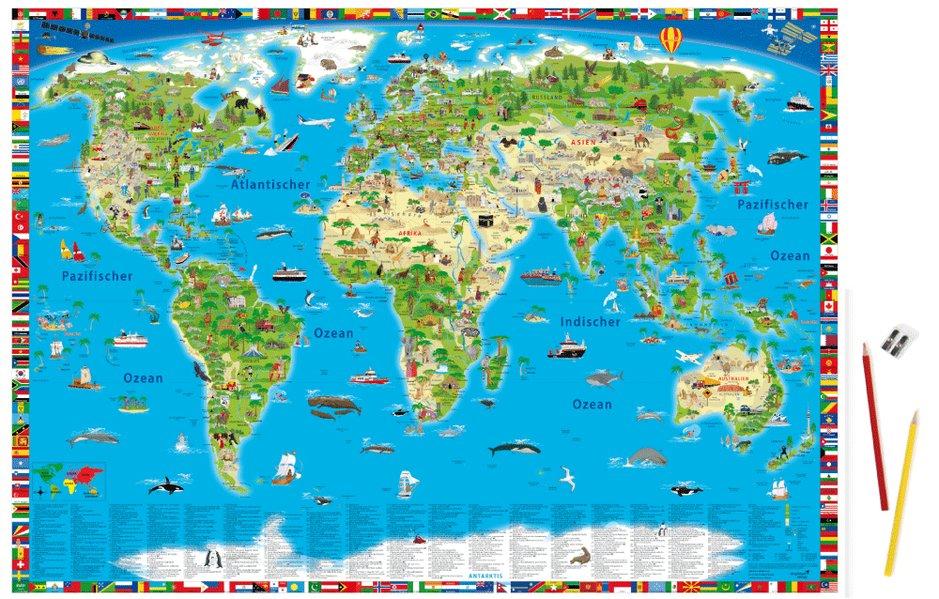 Erlebniskarte illustrierte Weltkarte Schreibunterlage als Sonstiger Artikel