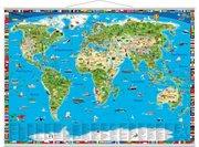Illustrierte Weltkarte. Erlebniskarte mit Metall-Beleistung