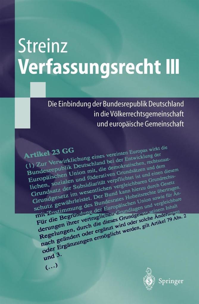 Verfassungsrecht III als Buch (kartoniert)