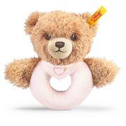 Steiff - Schlaf-gut-Bär Greifring mit Rassel, rosa, 12cm