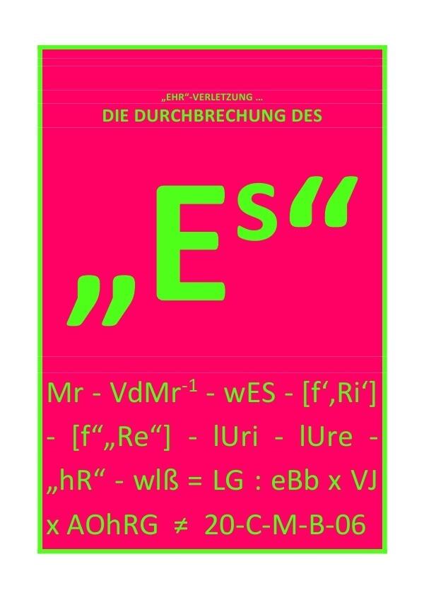 """""""DIE DURCHBRECHUNG DES """"Es"""" als Buch (kartoniert)"""