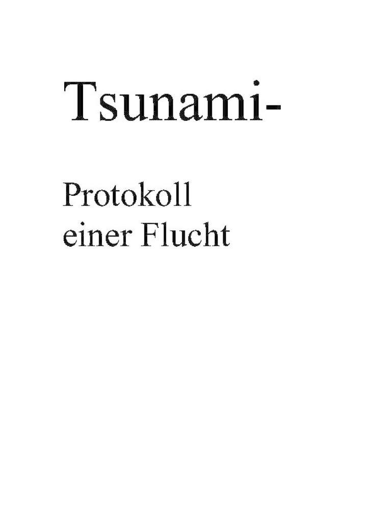 Tsunami- Protokoll einer Flucht als eBook epub