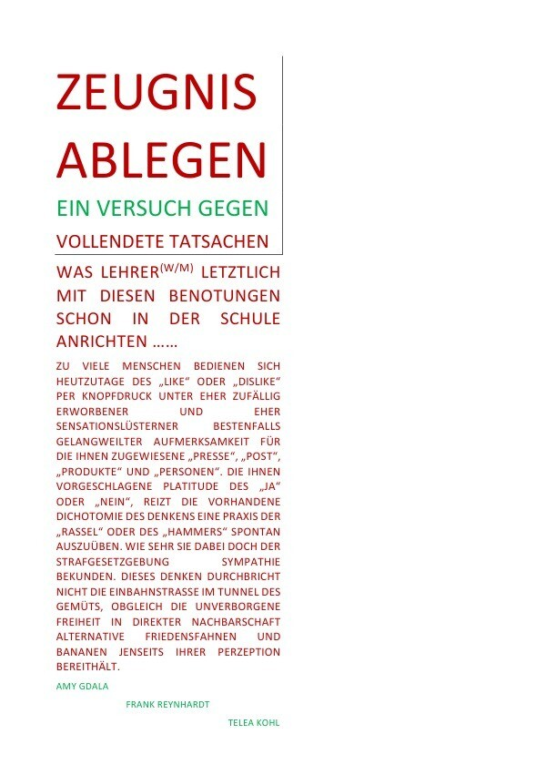 ZEUGNIS ABLEGEN - EIN VERSUCH GEGEN VOLLENDETE TATSACHEN als Buch (kartoniert)