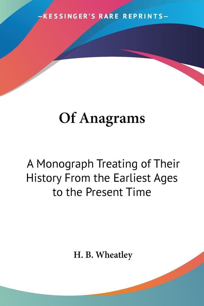 Of Anagrams als Taschenbuch
