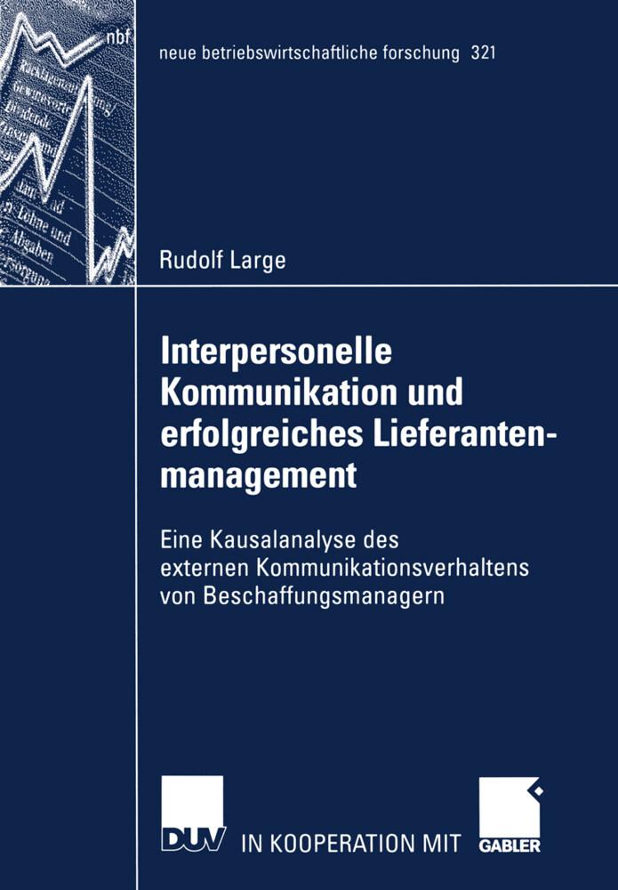 Interpersonelle Kommunikation und erfolgreiches Lieferantenmanagement als Buch (kartoniert)