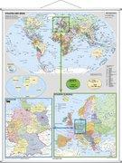 Deutschland und Europa in der Welt politisch. Wandkarte Großformat mit Metallstäben